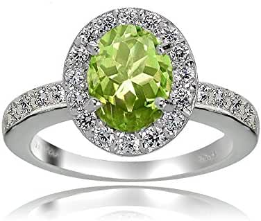 Sterling Silver Peridot and White Topaz Oval Halo Ring
