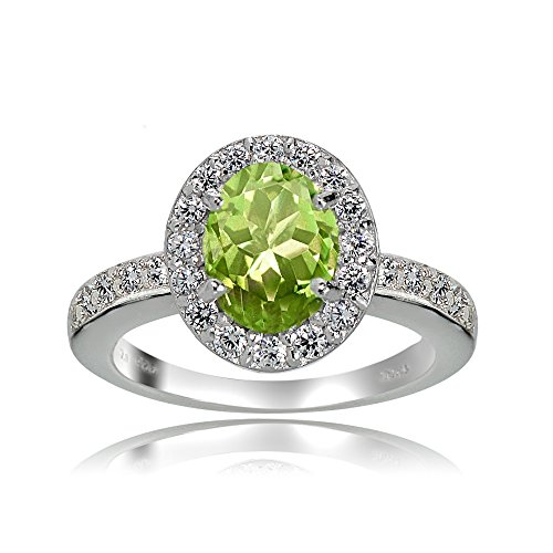 Sterling Silver Peridot and White Topaz Oval Halo Ring (7)