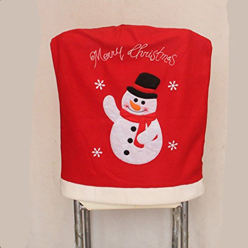 [EFINNY Christmas Dinner Party Decor Embroidery Santa Claus Snowman Red Chair Back Cover Xmas Kitchen Chair] (Womens Homemade Snowman Costume)