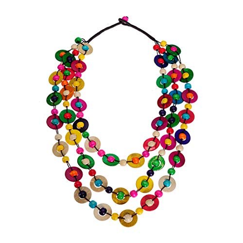 Mozhuo African Wood Bead Statement Collar Necklace for Women Multilayer Multilcolor Chunky Pendant Choker Bib Necklace Handmade Bohemian Jewelry