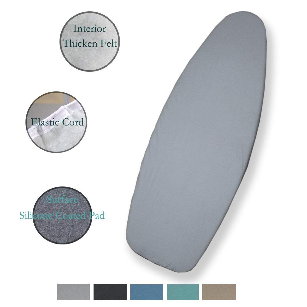 DOWE 127cm x 45cm Heat Resistance Metallic Ironing Board Cover Durable Thicken Felt Material Standard Size Multi-Color Choices, With Elastic Cord, Easy to Handle and Fits Board Beautifully (Blue)