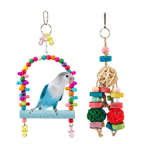 MEWTOGO Bird Parrot Swing Toys - Small Hammock Hanging Perch Stand Toy and Rattan Balls Chewing Toy for Small Medium Parrots by MEWTOGO