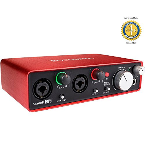 Focusrite Scarlett 2i2 Second Generation (2nd Gen) 2-in, 2-out USB Audio Interface with 1 Year Free Extended Warranty by Focusrite