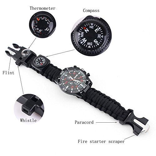 Survival-Watch-16-in-1-Multifunctional-Water-Resistant-Survival-Tactical-Emergency-Bracelet-Hiking-Camping-Kit-Military-Grade-Paracord-Fire-Starter-Compass-Thermometer-Whistle-Fishing