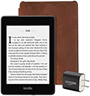 Kindle Paperwhite Essentials Bundle including Kindle Paperwhite - Wifi, Ad-Supported, Amazon Premium Leather C
