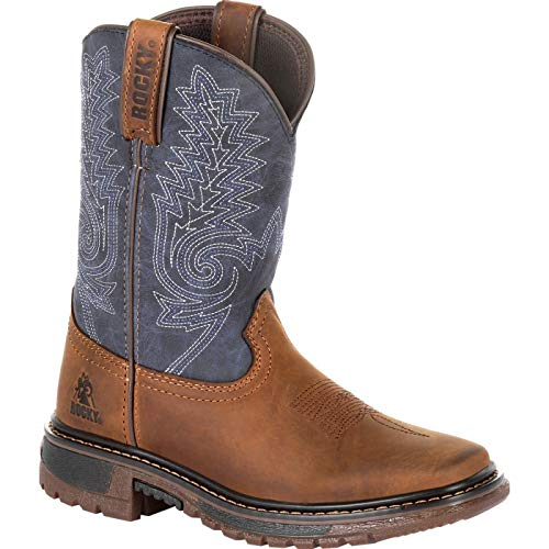 Rocky Boys' Ride FLX Western Boot Square Toe Brown 6 -