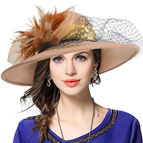 Womens All That Jazz Flapper Costumes (Women's Fascinator Wool Felt Hat Cocktail Party Wedding Fedora Hats (Camel))