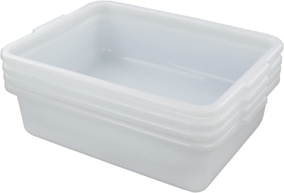 Hommp 8 Quart White Small Bus Tub/Box, Small Rectangle Wash Basins, 4-Pack