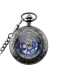 Vintage Retro Creative Hollow Roman Numerals Scale Dial Hand Winding Mechanical Watch Waist Chain Pocket Watch
