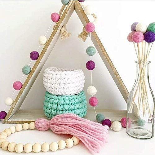 30PCS Wool Felt PomPom Balls Beading String Hanging Home Garland Party Decor