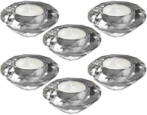 (Amlong Crystal Diamond Tealight Candle Holder, Clear, Set of 6 )