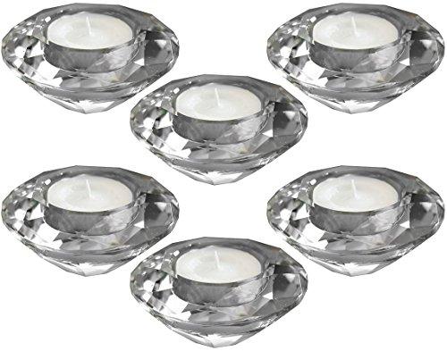 Amlong Crystal Diamond Tealight Candle Holder, Clear, Set of - Shaped Holder Tealight