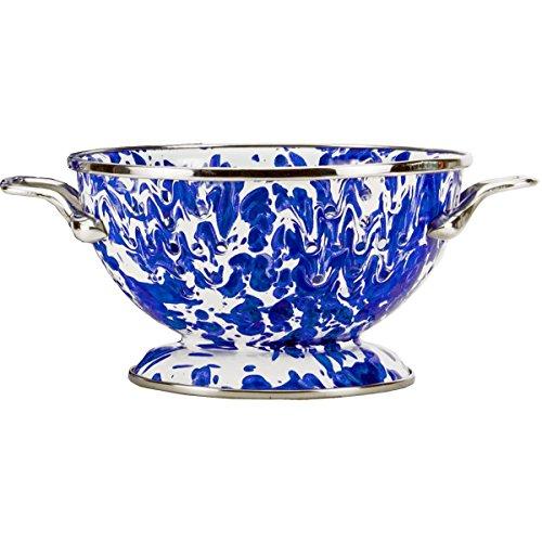 (Enamelware - Cobalt Blue Swirl Pattern - Petite Colander)