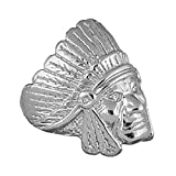 So Chic Jewels - Mens 925 Sterling Silver Native American Indian Head Signet Ring - Size 10