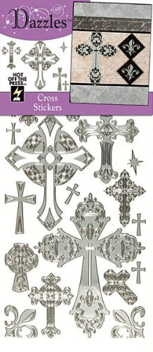 Hot Off The Press Dazzles Stickers -Silver Crosses