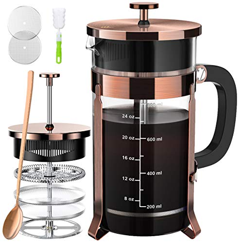 French Press Coffee and Tea Maker(34oz),304 Stainless Steel Coffee Press with 4 Filters Screen-100% No Residue -German…