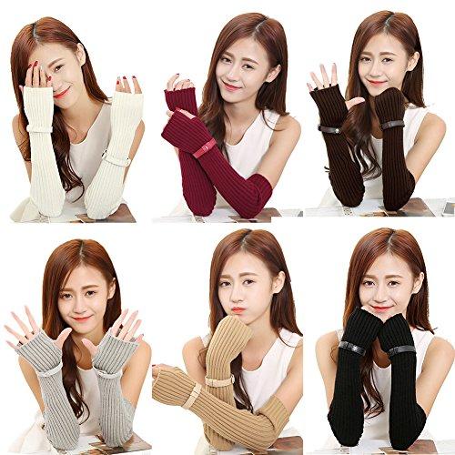 Lisli Women Winter Warm Long Fingerless Knitted Gloves Mitten Wrist Arm Hand Warmer