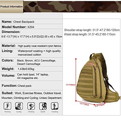 Maxmer tattico zaino a tracolla unisex Military Sling petto Pack zaino Zaino impermeabile borsa a tracolla Army Equipment Gear per ciclismo equitazione campeggio, nero