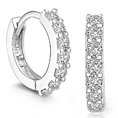 HIRIRI Hot Sale Sterling Silver Rhinestones Hoop Diamond Stud Earrings for Women ()