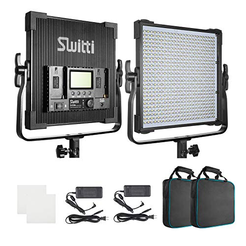 LED Video Light 45W, Switti Durable Metal Frame with Digital Display CRI96+, LED Photography Video Lighting Kit 3000K-8000K for Studio, YouTube, Product Photography Video Shooting (Two Packs)