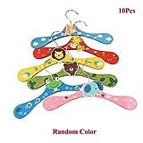 Lzttyee 10pcs Children Cute Cartoon Animal Wooden Clothes Hangers Coats Pants Hook Hanger Rack Stands Random Color