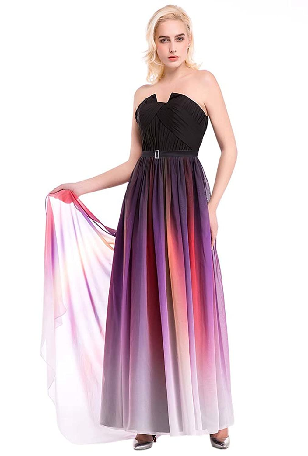 Hot Queen Women's Strapless Sex Colourful Chiffon Long Prom Dresses 2016