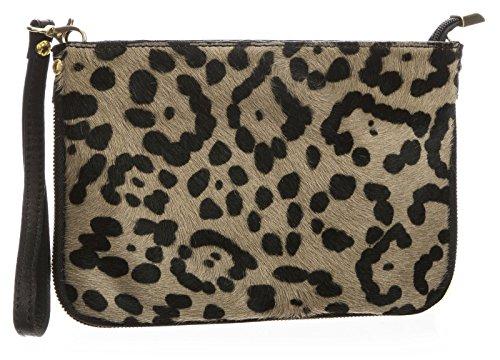 Jaguar Clutch (Big Handbag Shop Small Genuine Leather with Calf Fur Zip Clutch Shoulder Bag (Jaguar - Taupe))
