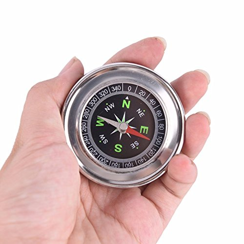 1 Pack Metal Stainless Steel Portable Compass Keychain Student Sports Survival Emergency Life Military Powerful Popular Outdoor Hiking Waterproof Whistle Backpack Geometry Map Guide Tools Kit by GrandSiri