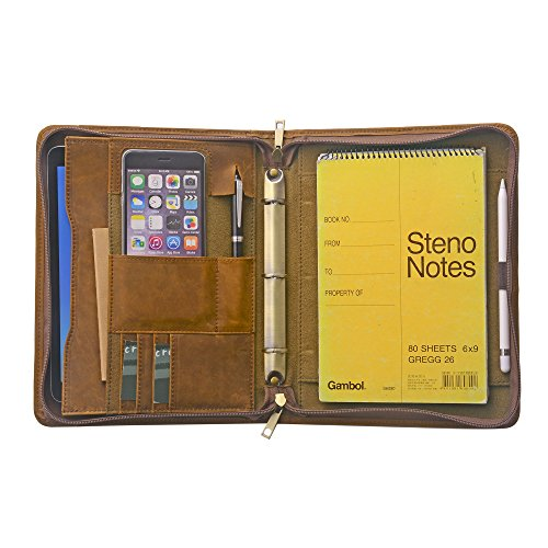 Zipper Organizer Binder Portfolio, Tablet Folio with 3-Ring Binder for Jr Legal / A5 Paper