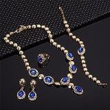 Moochi Gold Plated Blue Zircon Stones Embedded Brass Necklace Earrings Jewelry Set