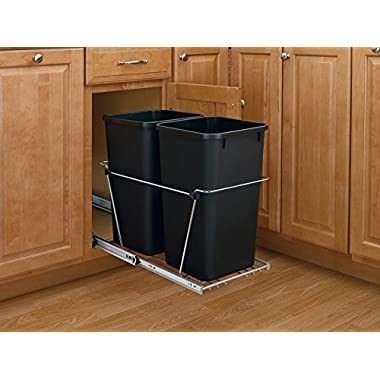 Rev-A-Shelf - RV-15KD-18C S - Double 27 Qt. Pull-Out Black and Chrome Waste Container