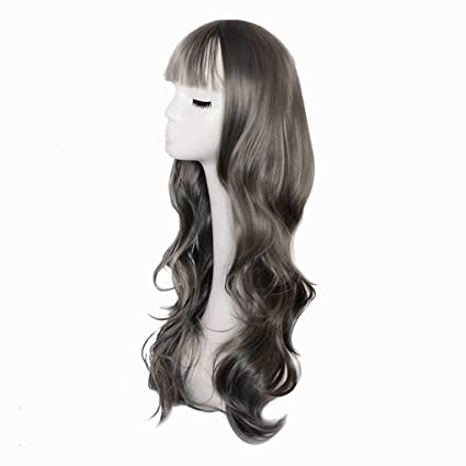 Peluca gris Harajuku Fashion Air Bangs Pelo largo y rizado Mullido Big Wave Peluca salvaje