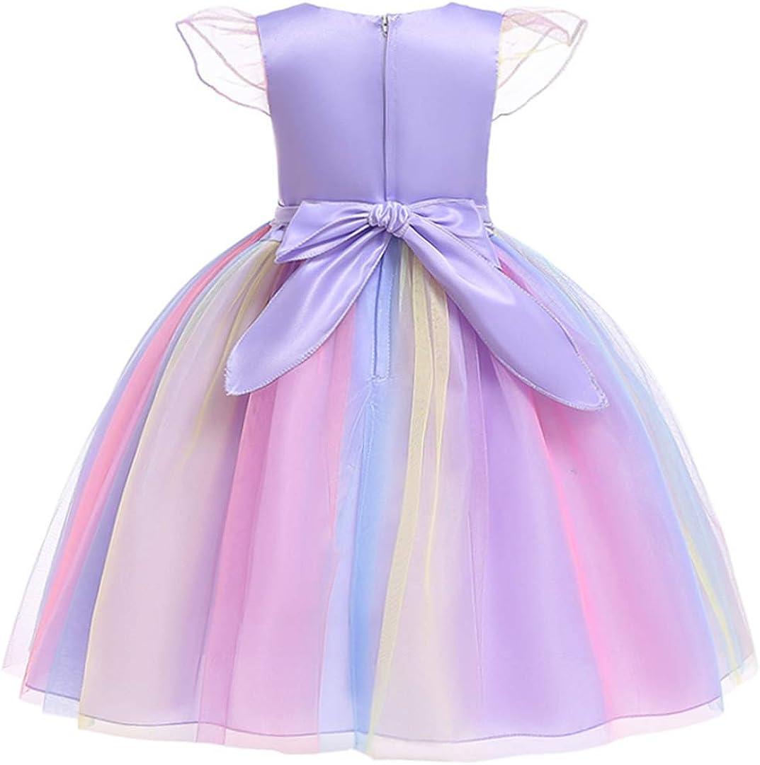 Girls Rainbow Unicorn Tulle Dress Princess Clothes Flower Birthday Party Cosplay Tutu Dress Kids Wedding Outfit