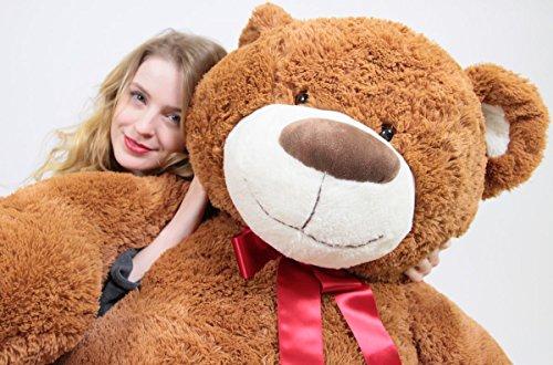 51MVI0l5CvL - 5 Foot Very Big Smiling Teddy Bear Five Feet Tall Cookie Dough Brown Color with Bigfoot Paws Giant Stuffed Animal Bear