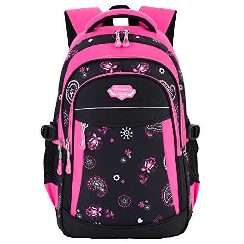 Fanspack Kids Girls Backpack Student Backpack for Children Bookbag Waterproof Large Schoolbag Rose Red (Backpack Dollar)
