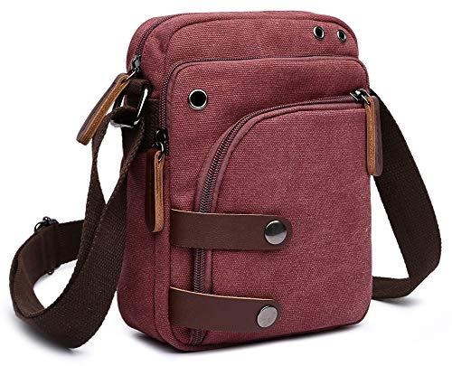 (Collsants Small Vintage Canvas Travel Purse Mini Shoulder Bags Messenger Crossbody Handbag (Red))