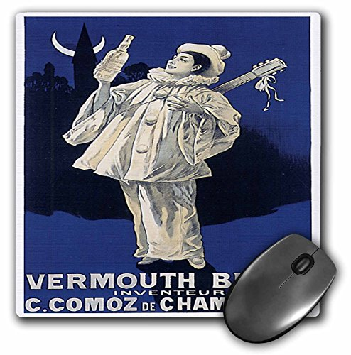 (3dRose BLN Vitage Wine, Beer and Spirits Advertising Posters - Vintage Vermouth Blanc Advertising Poster - MousePad)