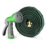 1byone Flat Garden Hose with 7 Function Spray Nozzle and High Pressure, Water Hose for Washing Cars or Driveways, Showering Pets, Watering Garden or Lawn, Cleaning, 50 Feet Expandable Hose-green/grey