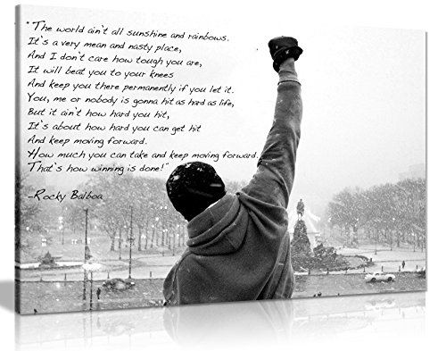 Arnold Schwarzenegger Costume (Panther Print Rocky Balboa Canvas Print Hope Qoute Large 30X20 Inches)