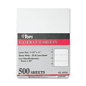 TOPS Laser Cut Sheet Paper, Perforated Every 3-2/3 Inches, 8.5 x 11 Inches, 20 Pound, 500 Sheets, White (5030)