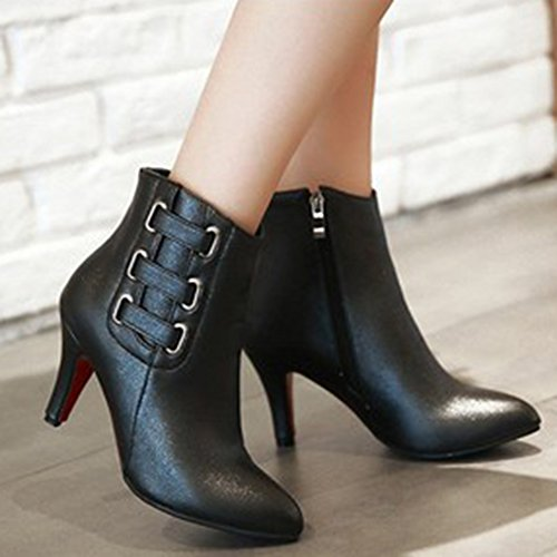 Black Ankle Toe Side Stylish Shoes Women's Aisun Zipper Pointed Boots FZ6wTY