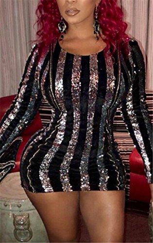 Jaycargogo Femmes Sexy Encolure Ras Du Cou À Manches Longues Robes Paillette Club Argentée Moulante
