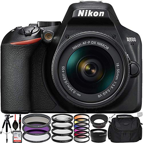 "Nikon D3500 DSLR Camera with 18-55mm Lens (1590) & 12PC Accessory Bundle – Includes: SanDisk Ultra 64GB SDXC Memory Card + 0.43x Wide Angle Lens + 2.2X Telephoto Lens + 57"" Tripod + More"
