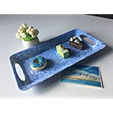 Melamine Serving Tray with Handle/Rims - Hware Dinner Plate and Cake Platters,Blue