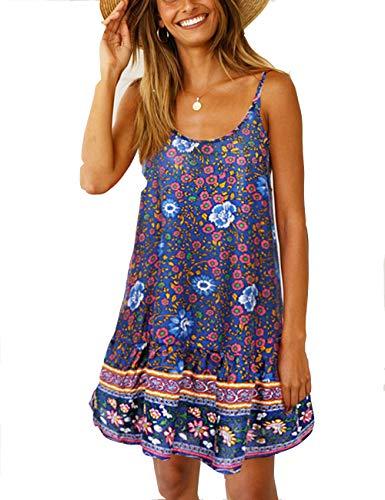 LOMON Summer Floral Printed Minin Dress Beach Casual Ruffle Swing Boho A-line Sundress