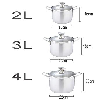 Olla JXLBB Sopa de Acero Inoxidable 304 Sopa sin Recubrimiento Antiadherente de Acero de Cinco Capas Ollas para Cocina de inducción (Capacidad : 4L): ...