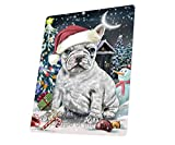 Have a Holly Jolly Christmas French Bulldogs Dog in Holiday Background Art Portrait Print Woven Throw Sherpa Plush Fleece Blanket D067 (60X80 Woven)