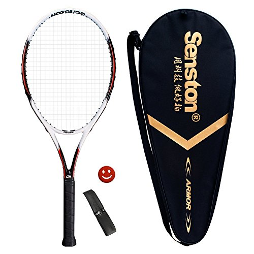 Senston 27 inch Tennis Racket Professional Tennis Racquet,Good Control Grip,Strung with Cover,Tennis Overgrip, Vibration Damper(White)
