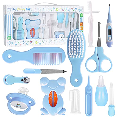 PhantomSky 13 Pcs Baby Care Kit Newborn Grooming Set Infant Essential Daily Care Kit Safety Cutter Nail Care Set Hair Comb Brush Nose Clean, Home Nursery Baby Healthcare Set with Storage Case-Blue