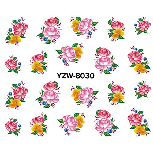 Molyveva 3D Self-Adhesive Tip Nail Stickers Nail Art Tattoo Nail Decals DIY Nail Art Decoration Flower/Butterfly/Fishes/Stars/Cat/Halloween -
